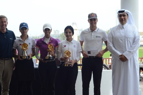 The Winning QGA Team of the Commercial Bank Qatar Masters morning Pro-Am with professional Matthias Schwab
