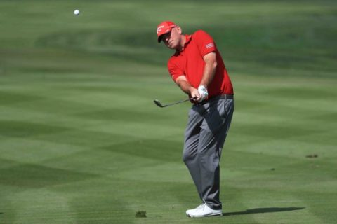 Thomas Bjorn of Denmark plays his third shot on the second hole during round one of the Abu Dhabi HSBC Golf Championship at Abu Dhabi Golf Club on January 18, 2018 in Abu Dhabi, United Arab Emirates. (Photo by Matthew Lewis/Getty Images)