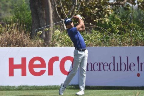Ajeetesh Sandhu trails the lead by three strokes at rd 1 of Hero Indian Open 2018