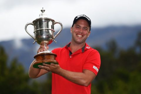 Daniel Nisbet from Australia after winning Round 4 of the 2018 ISPS Handa New Zealand Golf Open. Millbrook Resort, Arrowtown. New Zealand. Sunday 4 March 2018. ©Copyright Photo: Chris Symes / www.photosport.nz