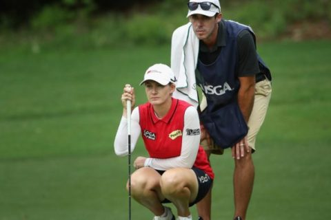 Sarah Jane Smith with caddie husband Duane Smith