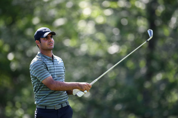 HUMBLE, TX - MARCH 29: Shubhankar Sharma of India hits his tee shot on the ninth hole during the first round of the Houston Open at the Golf Club of Houston on March 29, 2018 in Humble, Texas. (Photo by Stacy Revere/Getty Images)