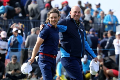 Tommy Fleetwood during the Ryder Cup four balls on Friday - European Tour Image