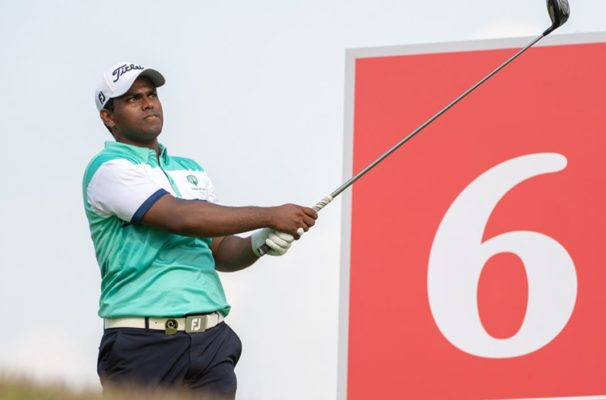 Rayhan Thomas in a action in the third round of the Asia-Pacific Amateur Golf in Singapore