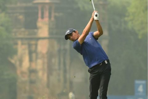 Ajeetesh Sandhu trails by one shot in second place with five-under-par 67 in the second round of Panasonic Open India