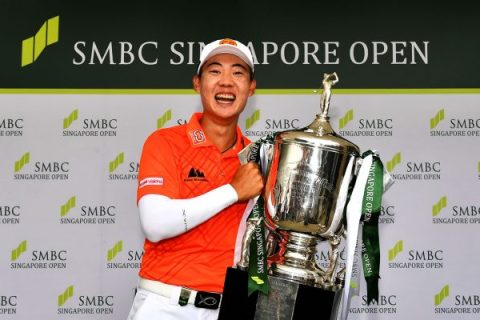 SINGAPORE- Jazz Janewattanananond of Thailand pictured with the winner's trophy on Sunday January 19, 2019 after the final round of the SMBC Singapore Open at the Sentosa Golf Club, Singapore. The USD$ 1 Million event is co- sanctioned with the Asian Tour and Japan Tour. Picture by Paul Lakatos/Lagardére Sports.