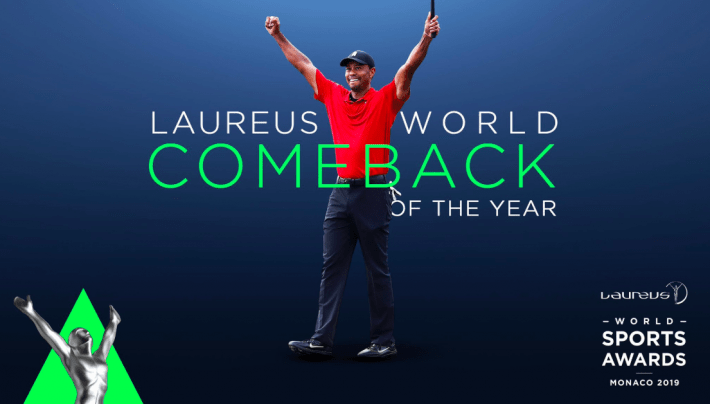 Tiger Woods wins the Comeback of the Year at Laureus Awards 2019