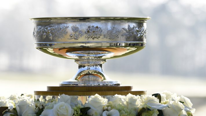 The trophy is seen on the first tee during Round 1 for the Augusta National Women's Amateur, Wednesday, April 3, 2019.