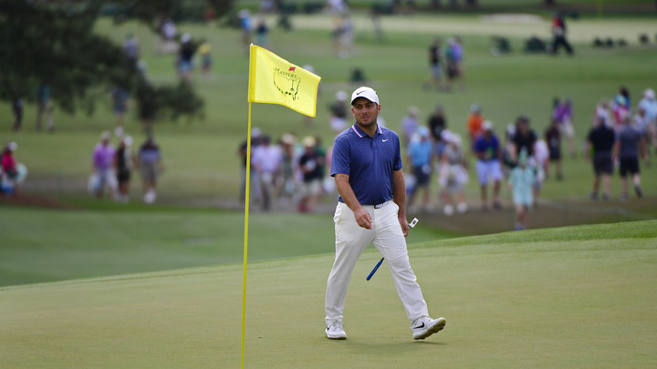 Francesco Molinari of Italy walks on the No. 18 green during the second round of the Masters at Augusta National Golf Club, Friday, April 12, 2019.
