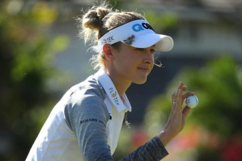 Nelly Korda acknowledges the crowd after making a birdie at the Lotte Championship - LPGA Image