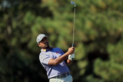Anirban Lahiri plays his shot from the 13th tee during the first round of the Sanderson Farms Championship at The Country Club of Jackson (Photo by Sam Greenwood/Getty Images)