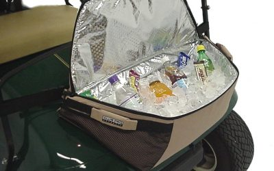 golf cart cooler with ice and beer