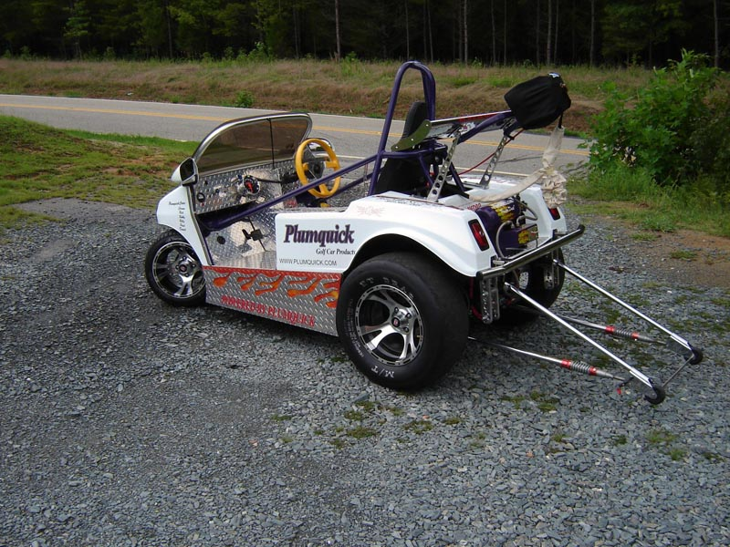drag racing golf cart with wheelie bars