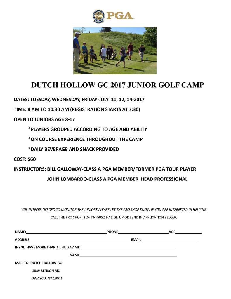 Dutch Hollow CC Junior Golf Camp Informational Flyer 2017