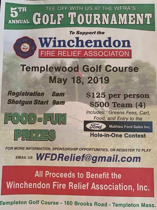 5th Annual Winchendon Fire Relief Association Golf Tournament