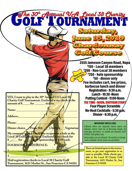 Local 38 2019 Charity Golf Tournament