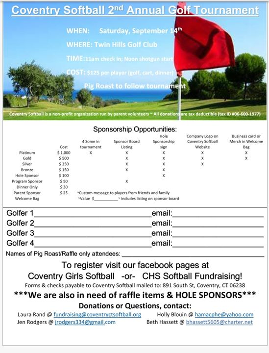 Coventry Softball Golf Tournament Fundraiser