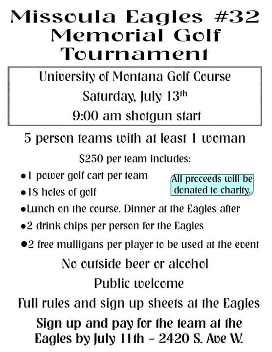 Missoula Eagles #32 Memorial golf tournament