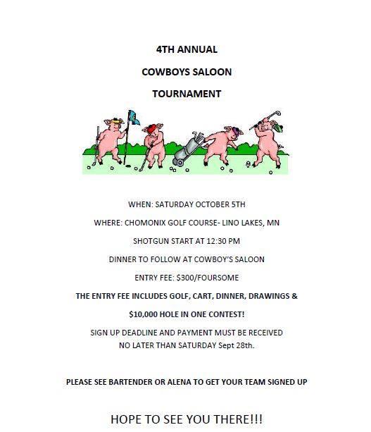Cowboy's Saloon Golf Tournament