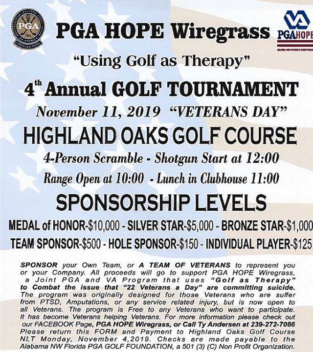 PGA HOPE Wiregrass 4th Annual Golf Tournament