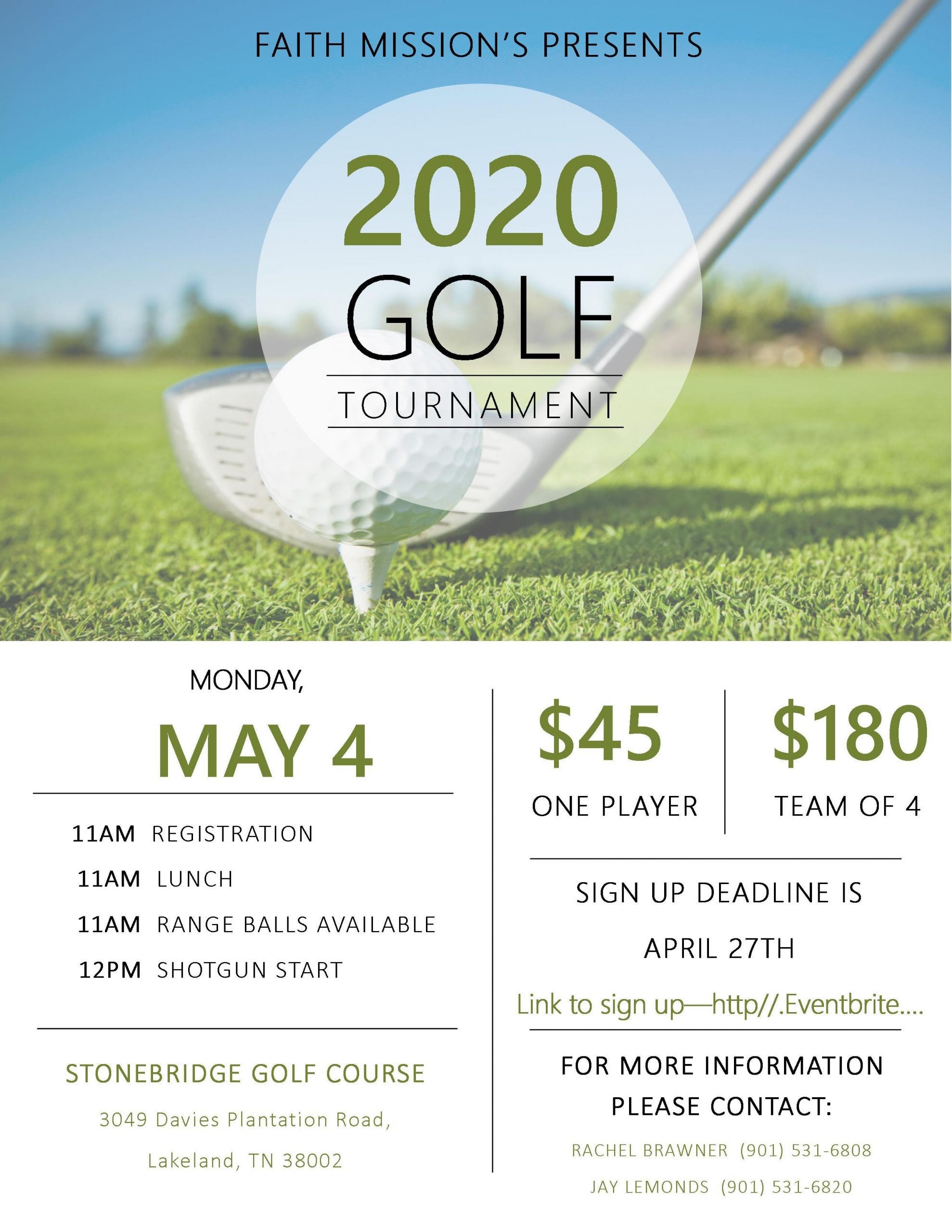 Faith Baptist Bartlett Missions Golf Tournament