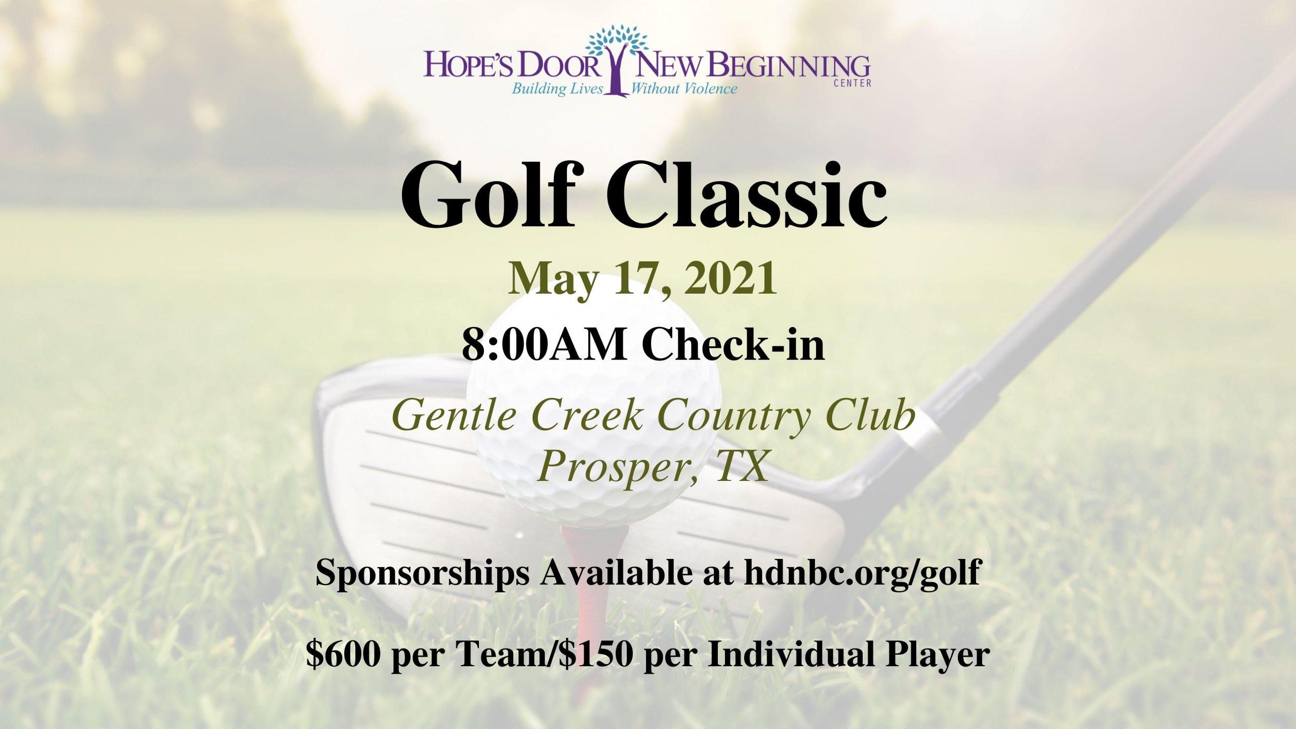 Hope's Door New Beginning Center Golf Classic 2021