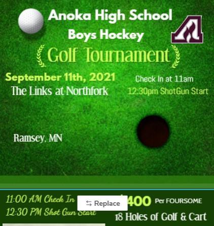 2021 Anoka High School Boys Hockey Golf Fundraiser
