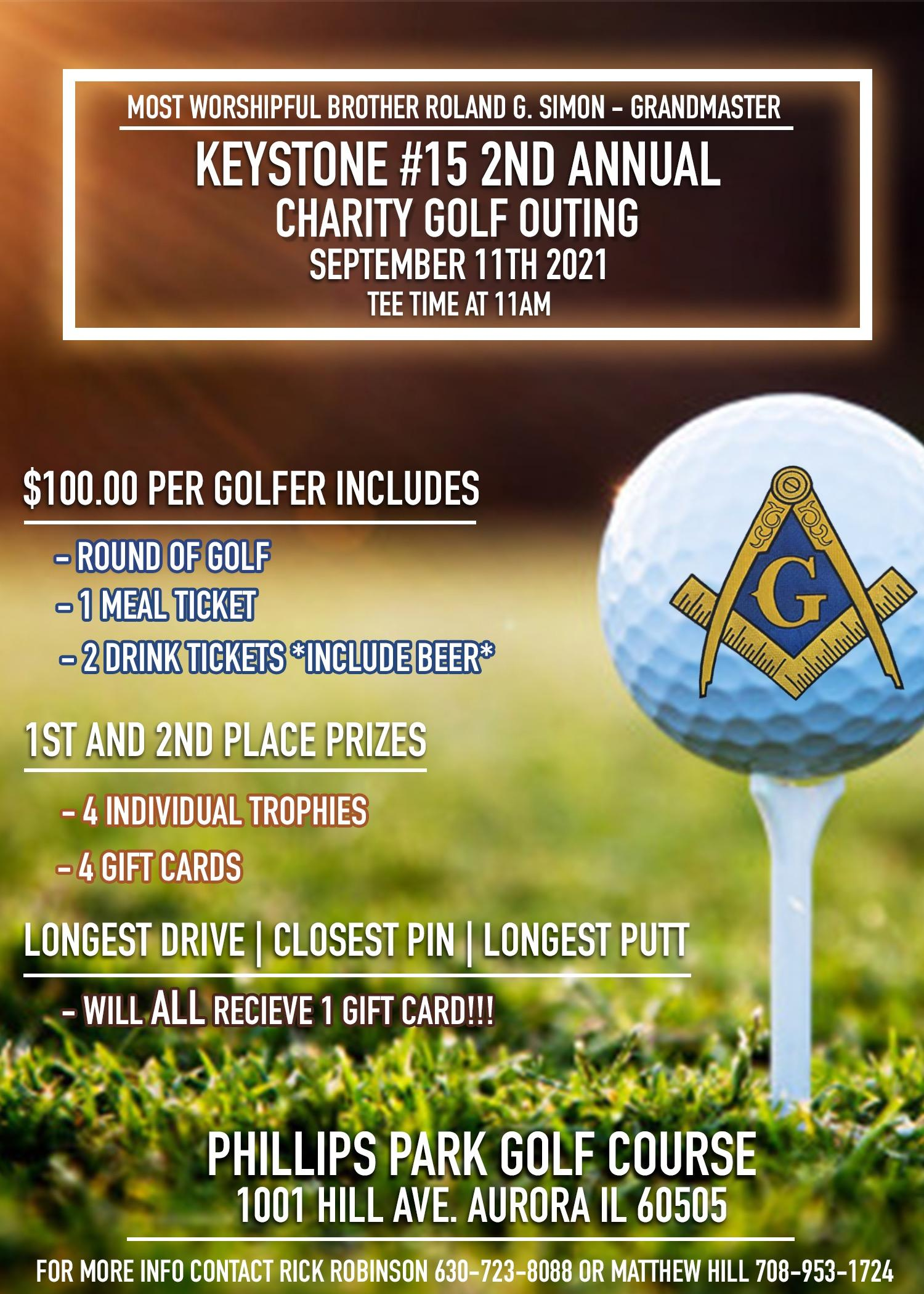 Keystone Lodge #15's second Annual charitable Golf Outing
