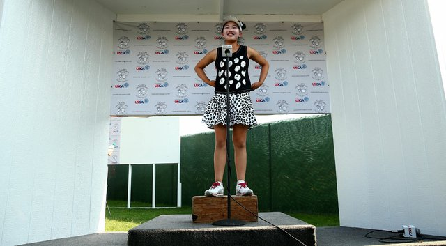 Lucy Li, 11, is interviewed after her second round of the U.S. Women's Open at Pinehurst No. 2.