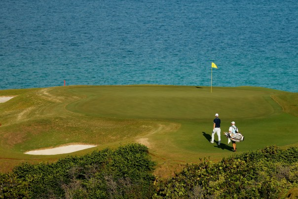 Maverick McNealy walks onto the 16th green during the first round of the Bermuda Championship at Port Royal Golf Course on October 29, 2020 in Southampton, Bermuda