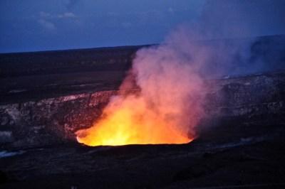 The Kilauea Caldera Glowing at Night