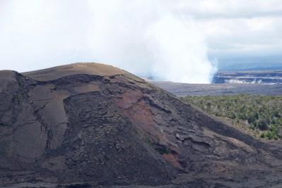 Cinder cone at Kilauea Iki with Kilauea caldera in background