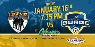 Sacramento at Las Vegas Legends arena soccer on Jan 16th