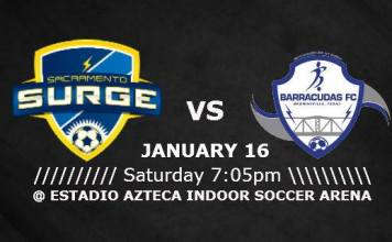 MASL West Div: Brownsville Barracudas at Sacramento Surge Jan 16th, 2016