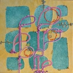 "© Golnaran, #golnaran, ""Dreams' Garden"", fabric art, Collage art, handmade, original, 30×30 cm, 2015."