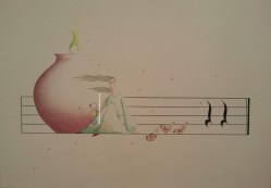 "© Golnaran, ""The melody of germination"", ""نوای رویش"", colored pencil, 2015"