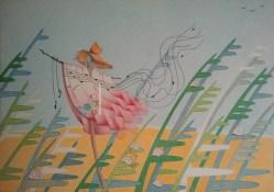 """""""4′33″, Between two movements"""", © Golnaran, original artwork, color pencil, 30×21 cm, 2015."""