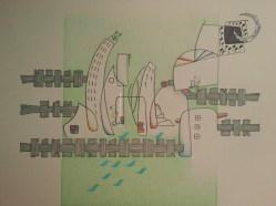 """Downloadish green rhapsody"", © Golnaran, original artwork, ink & color pencil, 30×21 cm, 2015."