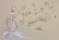 """The Blue Cherries"", © Golnaran, original artwork, water color & color pencil, A3, 2016,"