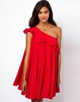 ASOS One Shoulder Ruffle Swing Dress