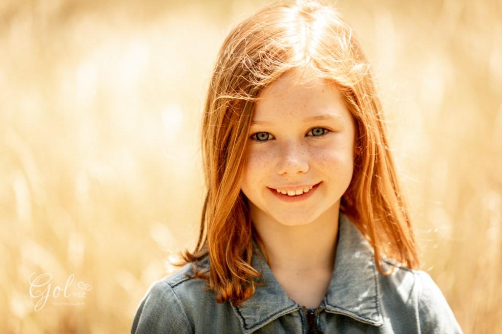 little girl portrait in summer photoshoot