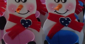 Muñecos de nieve en goma eva