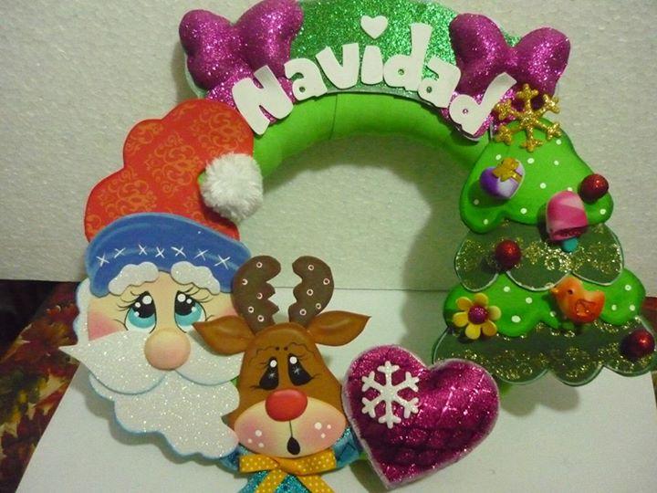 corona de navidad goma eva