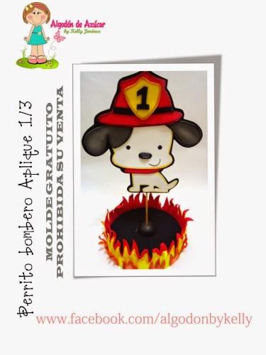 Perrito bombero aplique 1