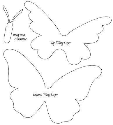 Mariposas 3D en goma eva molde