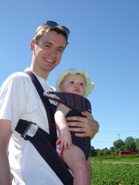 Daddy and Baby O in baby bjorn