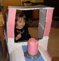 Birthday girl driving her train