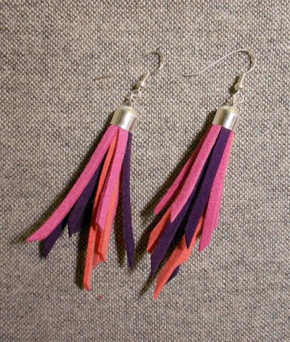 Lilás-rózsaszínes-korallos fülbevaló