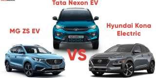 MG ZS EV vs Tata Nexon EV vs Hyundai Kona