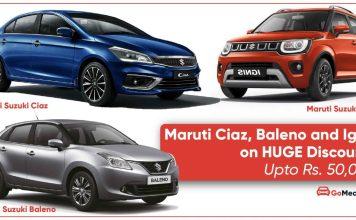 Maruti Suzuki Ciaz, Baleno and Ignis on huge discounts   Upto Rs. 50,000